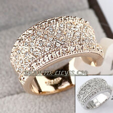 B1-R444 Fashion 12mm Band Ring 18KGP use Swarovski Crystal