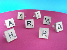 ** VINTAGE WOODEN SCRABBLE RINGS ** ADJUSTABLE ** SILVER ** ALL LETTERS ** 99p *