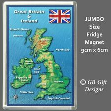 UNITED KINGDOM MAP & FLAG - Jumbo Fridge Magnets - Novelty Souvenir