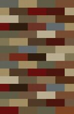 CONTEMPORARY green BLUE brown RED geometric AREA rug MODERN boxes MULTI carpet