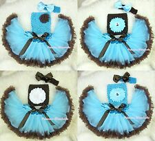 Newborn Baby Light Blue Brown Pettiskirt Crochet Tube Top Headband 3PC NB-3Year