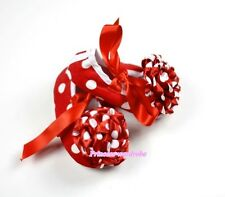 Infant Baby Toddler Girl Hot Red White Dot Print Shoe Ribbon Minnie Rose 0-18M