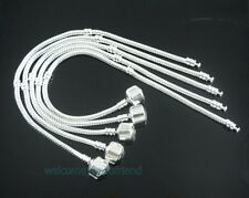 10pcs Snake Chain Silver /P Charm Bracelets Fit European Beads Choose Sizes P01