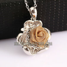 P234 Fashion Rose Flower Necklace Pendant 18K GP use Swarovski Crystal