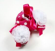 Infant Baby Toddler Girl Hot Pink White Dot Print Shoe Ribbon White Rose 0-18M