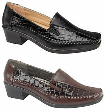 LADIES WOMEN'S FASHION BLACK BROWN CROC GUSSET LOAFERS PUMPS SHOES 3 4 5 6 7 8