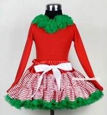 Xmas Red White Streak Pettiskirt Red Long Sleeve Pettitop Kelly Green Rose 1-8Y