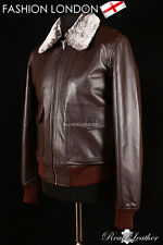 'BOSTON' Men's Brown Fur Collar Aviator Bomber Real Nappa Leather Jacket