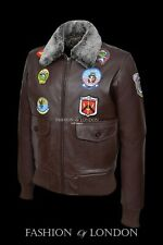 'TOP GUN' Men's Brown G1 Style Bomber Aviator Pilot Cowhide Leather Jacket