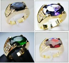 Jewellery Men's Ruby/Emerald/Amethyst 10KT Yellow Gold Filled ring size 9/10/11