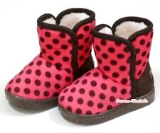 Winter Adorable Casual Toddler Girl Hot Pink Wine Red Dots Suede Shoes Boots