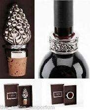 GRAPE DESIGN BOTTLE STOPPER AND/OR DRIP COLLAR RING - MATCHING WINE ACCESSORIES