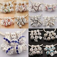 Silver Plated Czech Crystal Dangle Ball Loose Beads Fit European Charm Bracelet