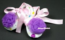 Infant Newborn Baby Girl Light Pink Rainbow Crib Shoes Dark Purple Rose 0-18M