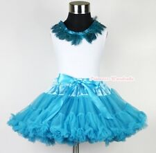 Peacock Blue Pettiskirt Exotic Peacock Blue Feather Lacing Pettitop Set 1-8Year