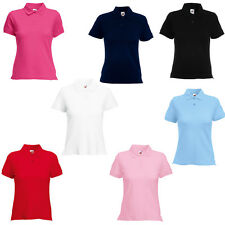 New Fruit of the Loom Womens Ladies Fitted Cotton Polo Shirt 8 Colours XS - XL