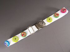 "White seat belt soda pop bottle cap canvas adjustable seatbelt 1.25"" wide"