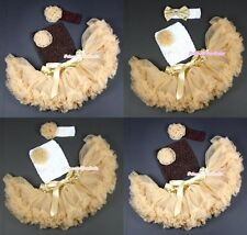 Baby Goldenrod Pettiskirt Tutu Dress Crochet Tube Top headband 3PC Set 3-12Month