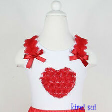 Valentine's Day Red Rosettes Heart White Tank Top Pettitop 1-7Y DV11