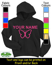 PERSONALISED GIRLS BUTTERFLY HOODIE / HOODIES - GREAT GIFT FOR A CHILD & NAMED