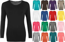 New Plus Size Womens Plain Long Sleeve Ladies Stretch T-Shirt Top