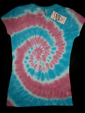 Women Fitted Tie-Dye Top Shirt Cool Woodstock Multi Color  Love  Pink