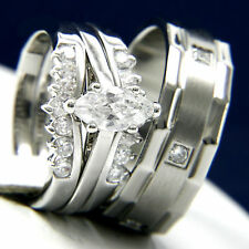0.95ct Clear Solitaire CZ Stainless Steel Engagement Wedding Brass Band Ring Set