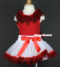 Hot Red White Peacock Feather Baby Pettiskirt Skirt Feather Red Top Set 3-24M