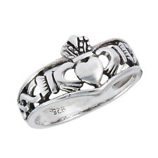 Sterling Silver Claddagh & Knotwork Ring Size 5-9