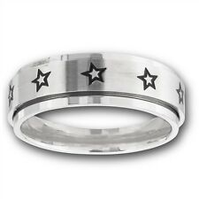 Spinning Stainless Steel Spinner Repeating Star Fashion Ring Size 6-13