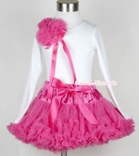 Hot Pink Pettiskirt with Bunch Of Hot Pink Rosette & Bow Long Sleeve Top 1-8Year