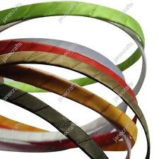 "x12 3/8"" Solid Satin Ribbon Wrapped Metal Headbands Assorted Colors 5MM 7MM"