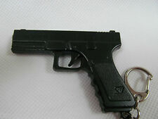COLLECTABLE SOLID BLACK METAL GLOCK REPLICA PISTOL GUN KEYRING KEY CHAIN UK SELL