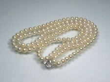 "2 Strands 4.5mm White AAA Akoya Pearl Necklace 16-18""/17-19"" 925 Silver Flower"