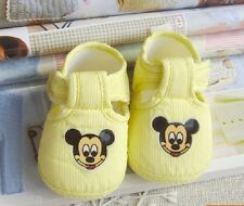 Yellow baby Girl boy shoe Mickey Cotton cloth shoes Soft bottom fit 3-14 month