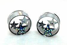 "Multicolor 3 Star CZ  Metal Steel Cut Double Flared Plugs.( 2 Gauge  to 1"" Inch)"