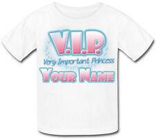 VIP VERY IMPORTANT PRINCESS PERSONALISED CHILDS T-SHIRT GREAT KIDS GIFT & NAMED