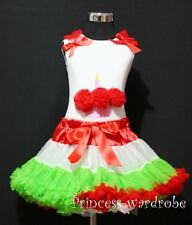 Red White Green Pettiskirt Tutu Dress White Pettitop Top Red Cupcake Set 1-8Year