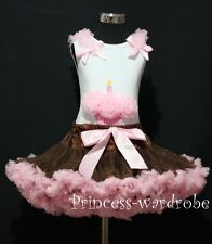 Brown Pink Pettiskirt Skirt Tutu Dress White Pettitop Top Pink Cupcake Set 1-8Y