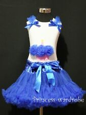 Royal Blue Pettiskirt Tutu Dress White Pettitop Blue Birthday Cupcake Set 1-8Y