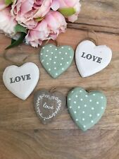 Vintage Style Hanging Hearts Wedding Favours Decorations Metal Wood Chic