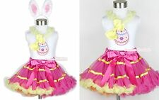 Hot Pink Yellow Rainbow Pettiskirt Bow & Easter EGG Lacing White Top Ear 1-8Year