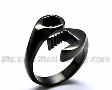 Mens Stainless Steel Ring Biker Mechanic Wrench Tool Multi US Size Color Jewelry