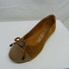 WOMENS BROWN BALLERINA BALLET PUMPS SHOES FAUX SUEDE WORK CASUAL FLATS DOLLY