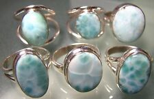 925 silver classic oval natural LARIMAR stone rings.