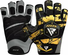 RDX Pro Gel Weight Lifting Body Building Gloves Gym Straps Bar Leather Training