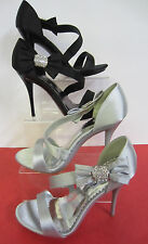 L3390 - Anne Michelle Strappy Satin Bow Detail Shoes / Sandals - Silver / Black