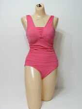 Mod Bod Swim Womens Pink One-Piece Ruched Swimsuit New