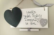 Chic Personalised Countdown To New Baby Pregnancy Plaque Sign Baby Shower Gift