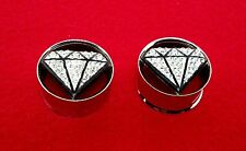 "Hottest Steel Clear CZ Diamnond Shaped Metal Double Flared Plugs( 2 G to 1""inch)"
